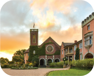 Image of the main entrance and chapel at Michaelhouse