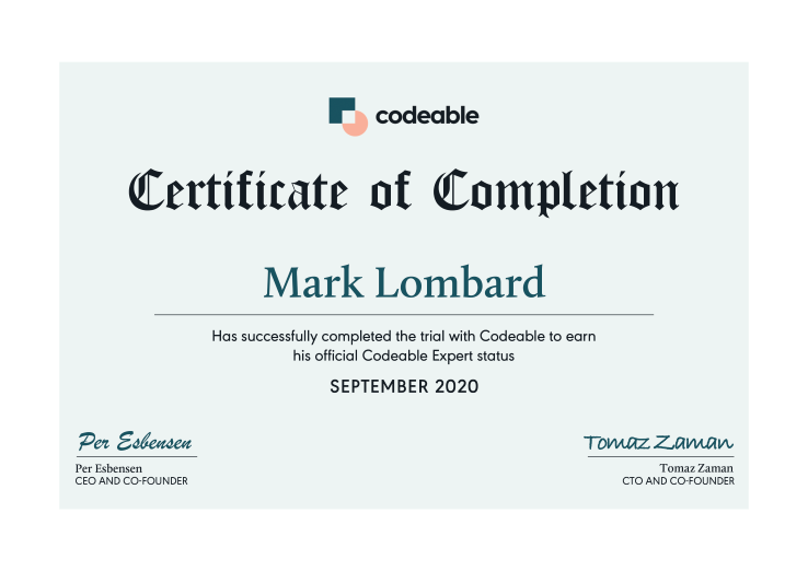 Certificate of Completion for Mark Lombard